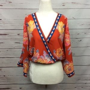 NWT [Flying Tomato] Floral Crossover Crop Blouse